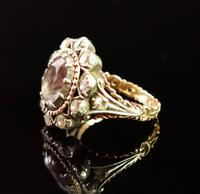 Antique Georgian Pink Topaz Cluster Ring, 18ct Gold, Foiled Paste (5 of 12)