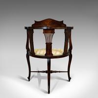 Antique Corner Armchair, French, Beech, Seat, Art Nouveau, Victorian c 1890 (8 of 12)