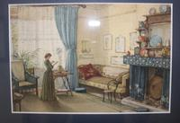 Antique Original Watercolour - Lady Reading - Mary Sophia Godlee 1860-1932 (2 of 5)