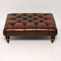 Antique Victorian Style Deep Buttoned Leather Stool (2 of 8)