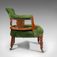 Antique Tub Chair, English, Velvet, Mahogany, Elbow, Seat, Edwardian c.1910 (4 of 12)