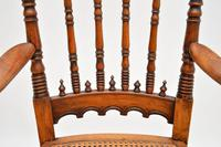 Antique Victorian Carved & Cane Seated Armchair (10 of 11)