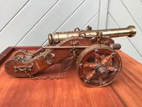 Antique Oak & Brass Miniature Cannon (5 of 10)