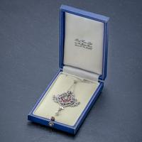 Antique Diamond Ruby Pearl Pendant Necklace Platinum 18ct Gold c.1915 Boxed (3 of 9)