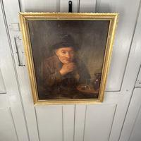 Antique Victorian Oil Painting Portrait of Man with Hat in Inn Pub Ale House (8 of 10)