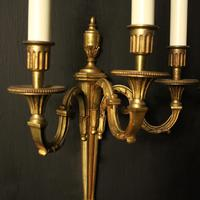 French Pair Of Gilded Triple Arm Antique Wall Lights (6 of 9)
