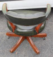 1960s Mahogany Green Leather Swivel Office Chair (3 of 3)