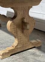 Bleached Oak French Trestle End Farmhouse Dining Table (9 of 28)