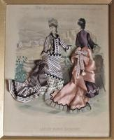 Antique Victorian 3-D Fashion Picture, Textile And Print, Original Frame, 1877 (7 of 8)