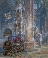 Sir Wyke Bayliss PRBA HRMS Rose Window Brussels Watercolour Painting (9 of 16)