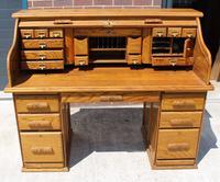 1960s Golden Oak Stype Rolltop Desk - Well Fitted (3 of 5)
