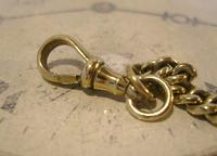 Antique Pocket Watch Chain 1870s Victorian Huge Brass Albert With T Bar & Fancy Mount (10 of 12)