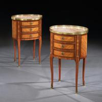 Fine Pair of Late 19th Century Oval Kingwood & Marble Bed Side Tables, Stamped P Chorier