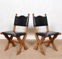 6 Oak Gothic Dining Chairs Carved (7 of 14)