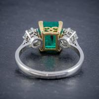 Art Deco Colombian Emerald Diamond Trilogy Ring Platinum 18ct Gold 2.55ct Emerald With Cert (3 of 9)