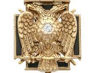 0.29ct Diamond, 0.20ct Ruby & Enamel, 12ct Yellow Gold Masonic Pendant / Watch Fob - Antique c.1900 (6 of 15)