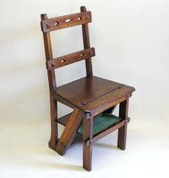 Victorian Metamorphic Oak Library Step Chair (2 of 13)