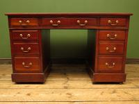 Handsome Antique Pedestal Desk with New Black Leather to Top (4 of 21)