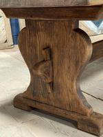 Larger French Bleached Oak Trestle Farmhouse Dining Table (3 of 21)