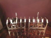 George VI Period Pair of Silver Toast Racks (4 of 6)