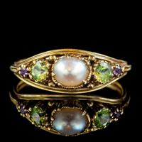 Antique Suffragette Ring Pearl Amethyst Peridot 18ct Gold Locket Back c.1910 (7 of 7)