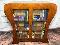 Art Deco Walnut Curved Bookcase Display Storage Cabinet (16 of 29)