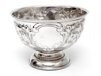 Edwardian Silver Rose Bowl Embossed with Flowers and Scrolls (3 of 5)