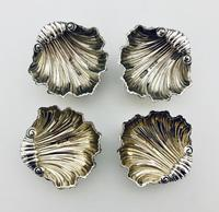 Set of 4 Antique Solid Silver Shell Salts and Spoons (6 of 13)