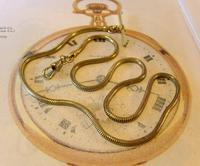 Antique Pocket Watch Chain 1930s Very Long Brass Snake Link Albert With T Bar (2 of 12)
