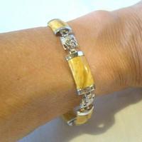 "Vintage Silver Chinese Dragon Bracelet 1970s Meerschaum Stones 7 1/4"" Length (4 of 10)"