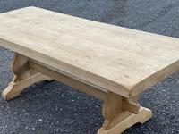 Bleached Oak Trestle End French Farmhouse Dining Table (15 of 22)