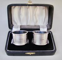 Cased Pair of Art Deco Engine Turned Silver Napkin Rings William H. Haseler, Birmingham 1926 (2 of 8)