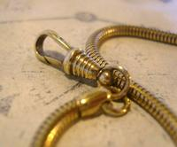 Antique Pocket Watch Chain 1930s Very Long Brass Snake Link Albert With T Bar (10 of 12)