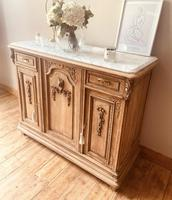 French Antique Oak Sideboard / Cupboard / Cabinet with Arabescato Marble (2 of 10)