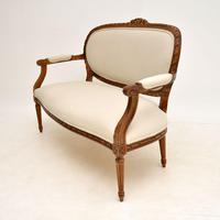Antique French Carved Walnut Salon Sofa (3 of 12)