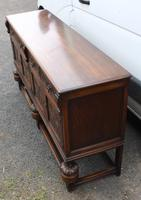 1940s Large Well Carved Oak Sideboard with Tudor Rose Motif (4 of 5)