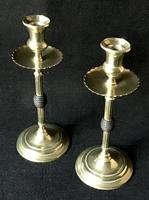 Pair of Arts and Crafts Brass and Ebony Candlesticks (2 of 4)