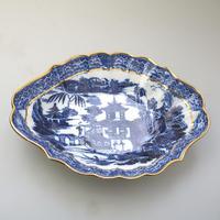 Large Blue & White Long Bridge Bowl Pottery, Unusually Decorated Underneath 19thc (3 of 6)