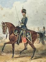 Military Watercolour Prince of Wales Own 10th Royal Hussars Guard on Horseback by Henry Martens c.1850 (6 of 53)