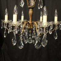 French Gilded 6 Light Chandelier c.1930 (8 of 10)