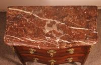 Small Curved Louis XV Commode / Chest of Drawers with Marble - 18th Century (6 of 15)