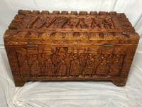 Large vintage Chinese tribal camphor wood carved chest coffee table (12 of 12)