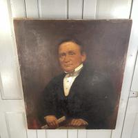 Large Antique Victorian Oil Painting Portrait of Gentleman in Formal Attire (7 of 10)