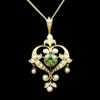 Antique Peridot and Pearl Lavalier 15ct 15K Gold Drop Pendant Necklace and Brooch (10 of 11)
