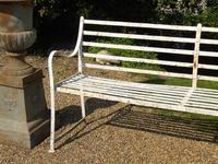 English Regency Wrought Iron Strapwork Garden Bench (4 of 9)