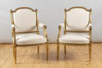 Pair of Large 19th Century Louis XV1 Style French Gilt Armchairs