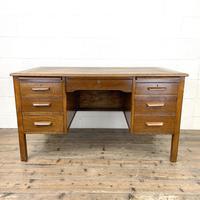 Early 20th Century Antique Oak Pedestal Desk