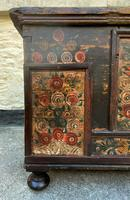 Large 19thc Swedish Country House Robust Painted Pine Storage Coffer Chest (8 of 18)