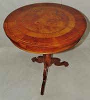 Italian Sorrento Walnut Inlaid Tripod Table (2 of 8)