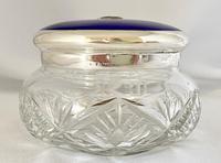 Stunning Blue Guilloche Enamel on Silver Glass Jar c.1930 (2 of 7)